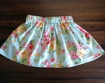 Girls Blue Rose Gathered Waist Skirt