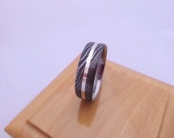 Stainless Damascus Steel White Gold Inlaid Unique Wedding Ring Hand Made in Scotland,UK