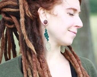 macramé earrings green - macrame earrings green