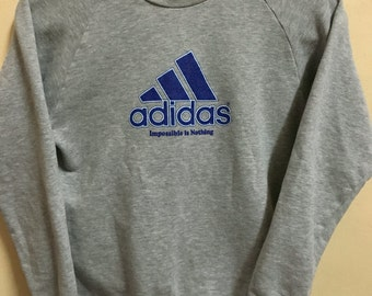 Vintage 90's Adidas Grey Blue 3 Stripes Sport Classic Design Skate Sweat Shirt Sweater Varsity Jacket Size M #A314