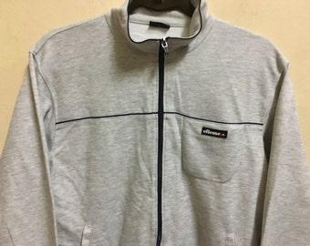 Vintage 90's Ellesse Grey Sport Classic Design Skate Sweat Shirt Sweater Varsity Jacket Size S #A452