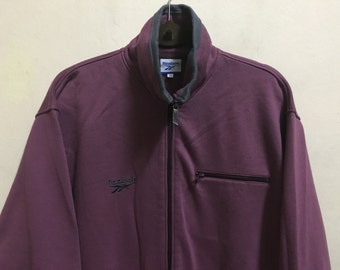 Vintage 90's Reebok Maroon Sport Classic Design Skate Sweat Shirt Sweater Varsity Jacket Size L #A487