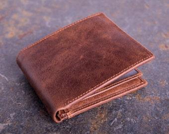 Cuir marron portefeuille - porte-monnaie à la main - portefeuille homme - porte monnaie en cuir pour homme - cadeaux pour lui - cuir - portefeuille Simple - ETSY-5