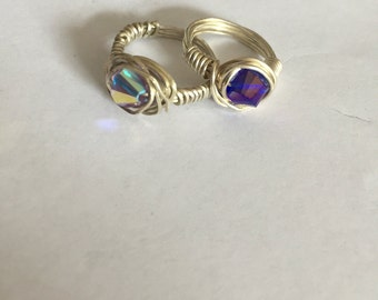 Sterling silver wire wrapped ring  crystal gemstone