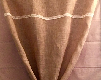 "40"" Wide Burlap Curtain Panel + Unique Handmade Tie"