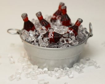 Wash Tub With Coke Bottle on Ice, Dollhouse Miniatures, Miniatures, Fairy Garden, Miniature Landscape