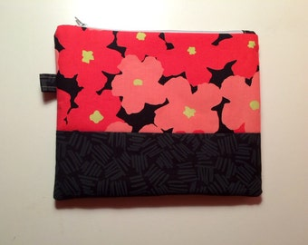 Floral pink and black pouch