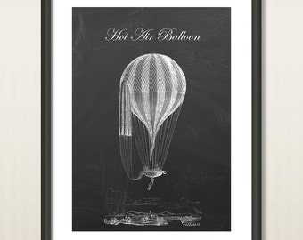 Old English Hot Air Balloon, Wall Decor, Balloon Poster Print, Nursery Decor, Hot Air Balloon Art, Vintage Poster