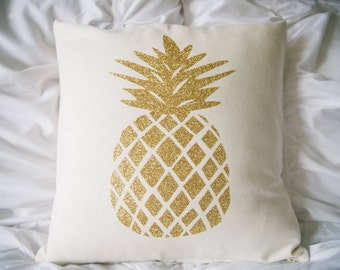 "Gold glitter pineapple pillow cover. Cotton canvas pillow cover with zipper, pineapple decor, pineapple love, 16"" x 16"" pillow cover"
