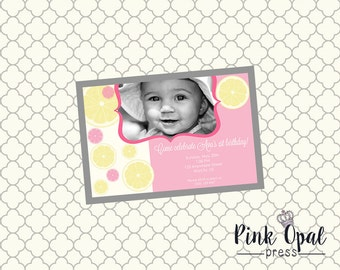 Pink Lemonade Custom Photo Birthday Invitation - Printable