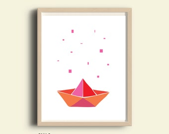 Paper Boat art, paper boat printable, paper boat kids room decor, origami boat, nursery boat decor, modern minimalist kids art, red, 8X10