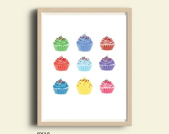 Cupcake print, cupcake poster, printable cupcake art, bakery decor, kitchen decor, kitchen art, kitchen poster, bakery Art, food art, 8X10