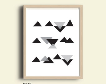 Geometric wall art, printable geometric art, triangle abstract art, wall art, geometric wall decor, wall decor living room, download art