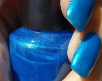 Unique Crystal Pearl Cobalt Blue Nail Polish Full Size 15ml Bottle