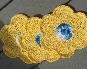Yellow flower wash cloths
