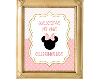 Printable 8x10 Minnie Mouse Sign, Welcome to the Clubhouse, Minnie Mouse Birthday, Pink and Gold, Welcome Sign, Birthday, AB05