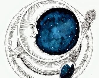 White Moon in a Teacup art print