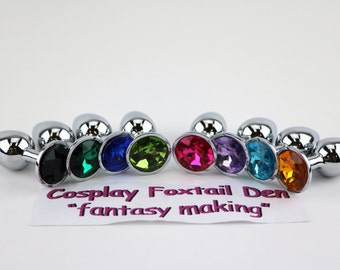 Small STAINLESS STEEL Jeweled butt plugs! 4 colors to choose from!