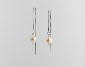 Delicate Drop Pearl Earrings