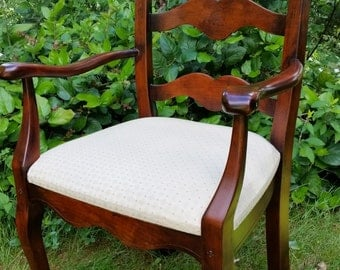 French Ladder Back Arm Chair   French Provencial Style Ladder Back Arm Chair  With Upholstered Seat