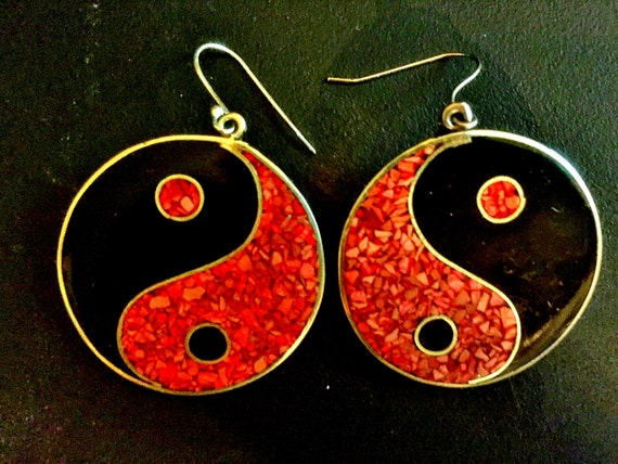 Yin yang earrings in 925 silver