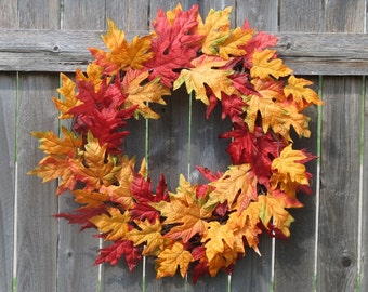 Fall wreath, Front Door Wreath, Indoor Wreath, Leaf Wreath, Autumn Wreath, Fall Leaves Wreath, Orange Fall Wreath, Orange Autumn Wreath