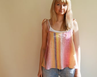 Cropped Top, Linen Tank Top, Camisole, Spaghetti Straps Top, Summer Top, Beach Top, Cropped Tank top, Loose Top, Sleeveless top, Adjustable