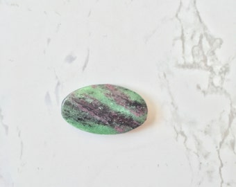 Miss Bliss. Oval Ruby in Zoisite Anyolite Gemstone Pendant Necklace