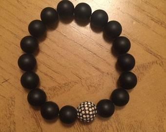 men bracelet matte black
