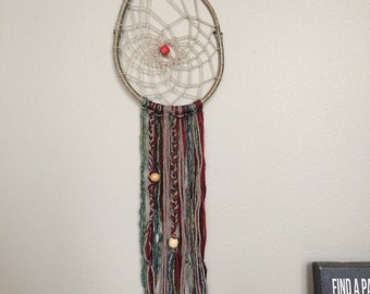 handmade wood and wool dreamcatcher