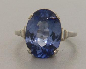 Ladies Estate Art Deco 14kt White Gold Enamel Synthetic Sapphire Ring