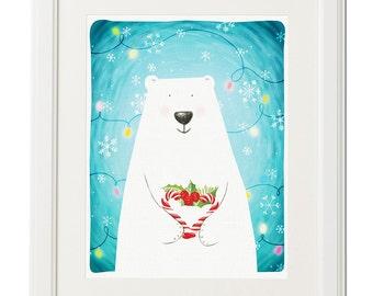 Christmas lights -Polar bear-Original drawing-Animal illustration-Printable art-Nursery decor-Digital download-Wall art