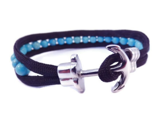 bracelet homme turquoise bracelet ancre marine anchor. Black Bedroom Furniture Sets. Home Design Ideas