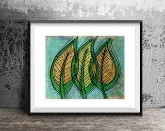 Three Leaves Print, Leaf Art, Funky Leaf Print, Leaf Art Print, Nature Art