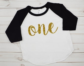 Girls First Birthday Shirt - First Birthday outfit - Gold glitter Raglan