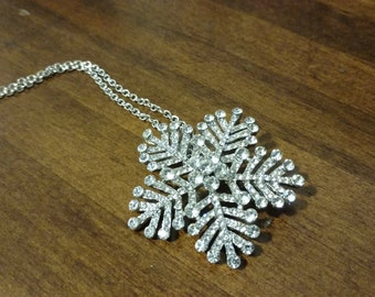 Convertible Crystal Snowflake Necklace and Brooch