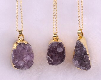Gold Plated Natural Amethyst Druzy Necklace