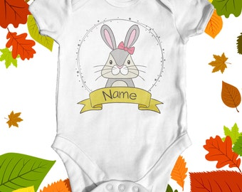 Personalised rabbit baby bodysuit | baby shower gift | cute baby clothes | custom baby bodysuit | animal baby bodysuit | newborn baby clothe
