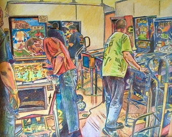 Tech workers at Pinball Show