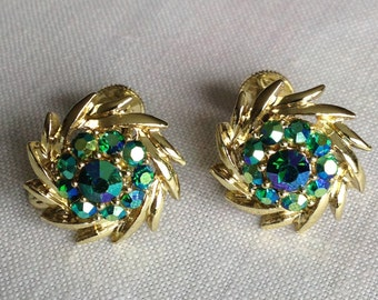 Sparkling Longcraft Signed Earrings with Blue/Green Floral Detailing