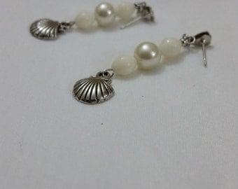 Pearl Beaded Sea Shell Earrings