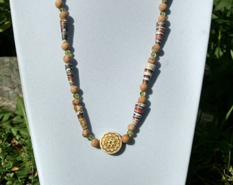 Newspaper necklace and bracelet, earthy tones, stone beads, jewelry set.