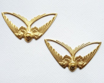 2 Raw Brass Swooping Swallows
