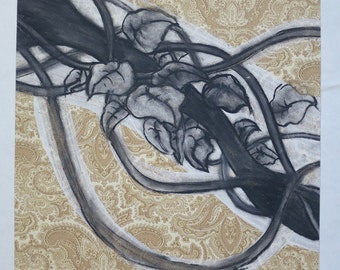 Hand drawn, Fine Art, Floral charcoal and acrylic drawing on Ralph Lauren wallpaper