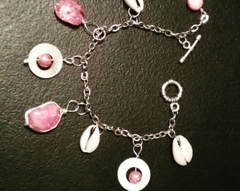 Silver Anklet, Rose quartz cowrie shell anklet, boho anklet, gemstone and shell anklet, ankle bracelet, gifts for her,  made in USA, OOAK