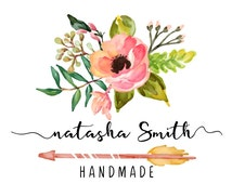 Premade Logo Design, Rustic Floral Logo, Calligraphy logo, Watercolor Floral Custom Business Card Branding, Wedding Signs PL100