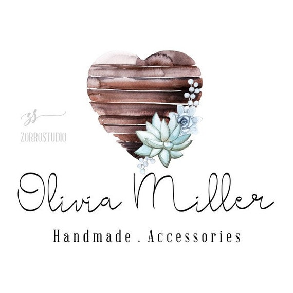 Rustic premade logo design wooden plank succulent flowers calligraphy