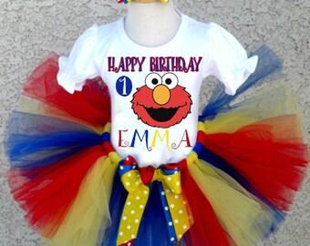 Elmo Tutu, Elmo Birthday Tutu Outfit, ALL AGES.  1st Birthday Elmo Tutu, Baby Elmo Tutu, Personalized Elmo Onesie, 1st birthday Tutu Set