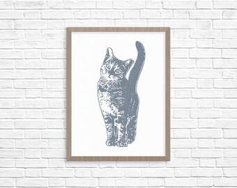 Kitty Cat Portrait, Animal Art, Cats and Kittens, Wall Art, Wall Decor, Animal Prints, Woodblock Prints, Line Drawing, Illustration