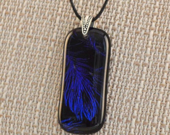 Fused Glass Blue Lavender Feather Pattern Dichroic Pendant Necklace